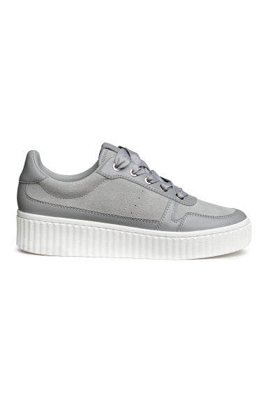 Leather and suede trainers - Light grey - Ladies | H&M CN