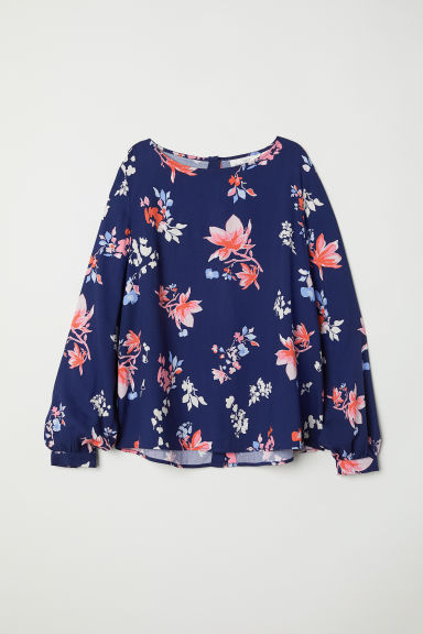 Patterned blouse - Dark blue/Patterned -  | H&M CN