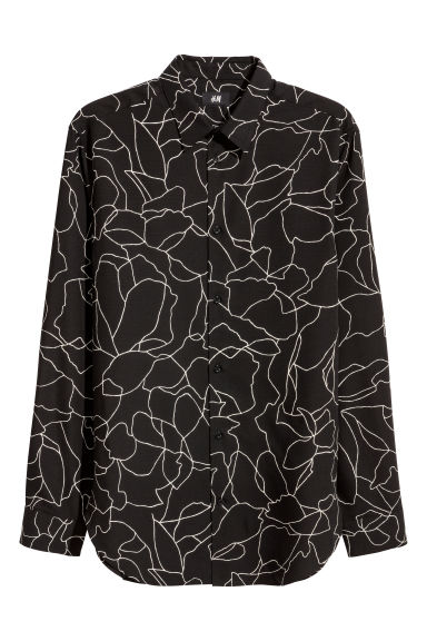 Lyocell shirt Relaxed fit - Black/White patterned -  | H&M