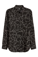 Lyocell shirt Relaxed fit - Black/White patterned - Men | H&M CN 2