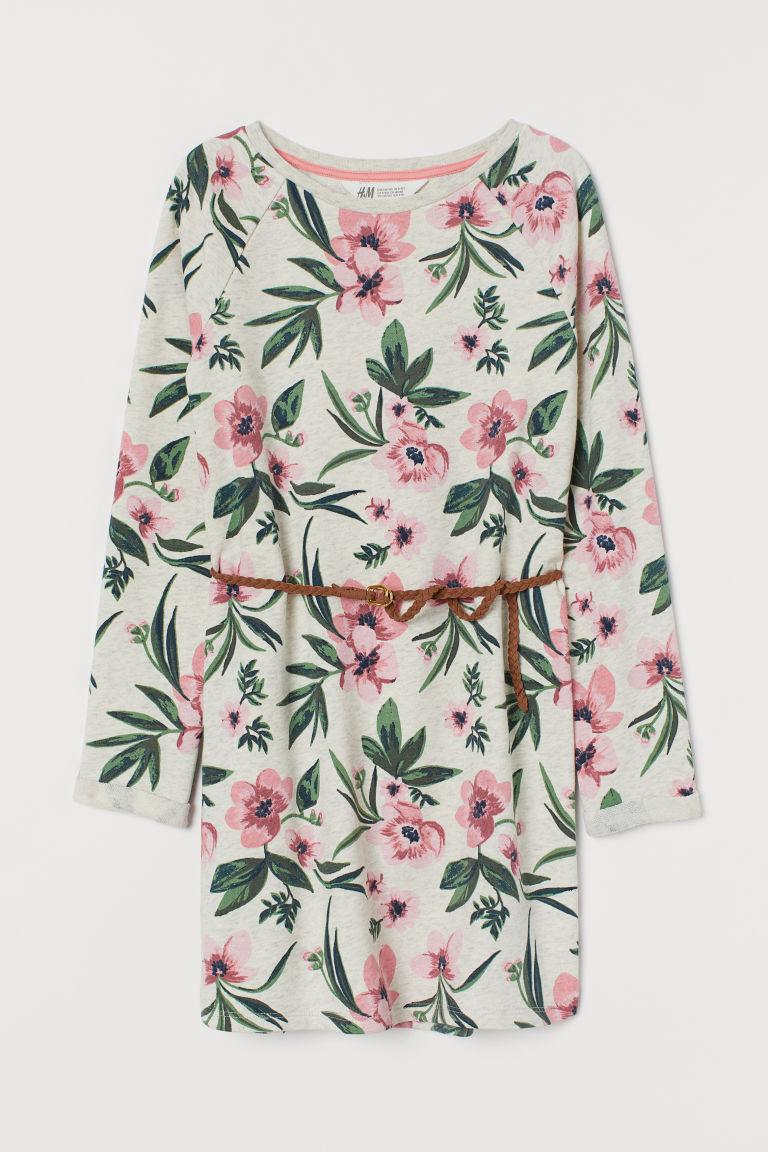 Sweatshirt dress with a belt - Beige marl/Floral - Kids   H&M GB