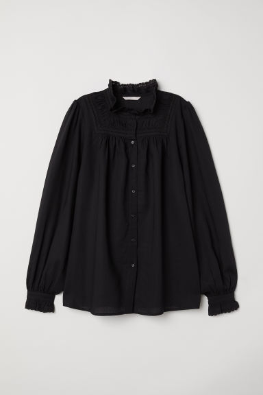 Blouse with a frilled collar - Black -  | H&M CN