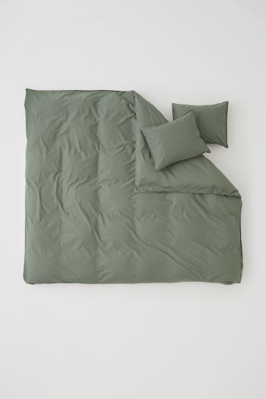 Washed cotton duvet cover set - Khaki green - Home All | H&M GB
