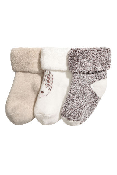 3-pack socks - Natural white/Hedgehog - Kids | H&M