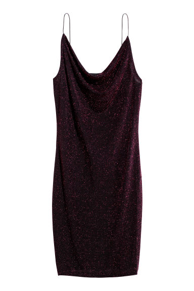 Fitted dress - Cerise/Glittery - Ladies | H&M