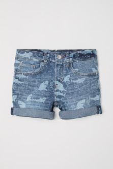 Patterned denim shorts