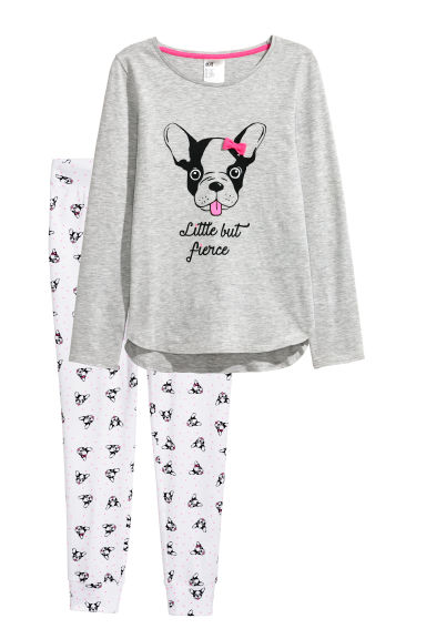 Jersey pyjamas - Grey marl/Dogs - Kids | H&M