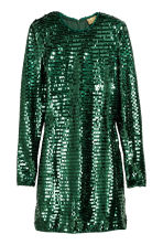 Sequined dress - Emerald green - Ladies | H&M 1