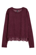 Fine-knit lace-trimmed jumper - Burgundy - Ladies | H&M CN 1