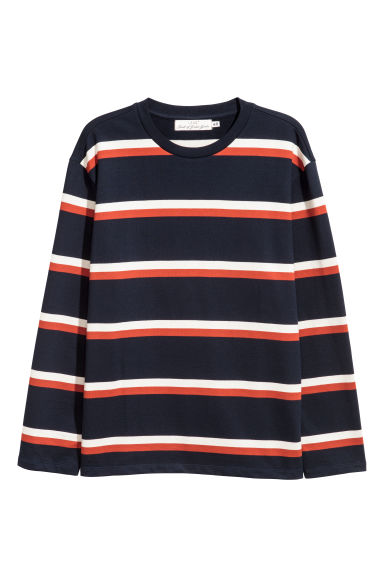Striped cotton top - Dark blue/Striped - Men | H&M