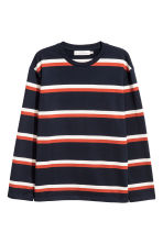 Striped cotton top - Dark blue/Striped - Men | H&M 2