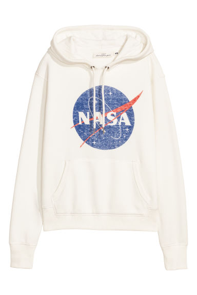 Printed Hooded Sweatshirt - White/NASA -  | H&M CA