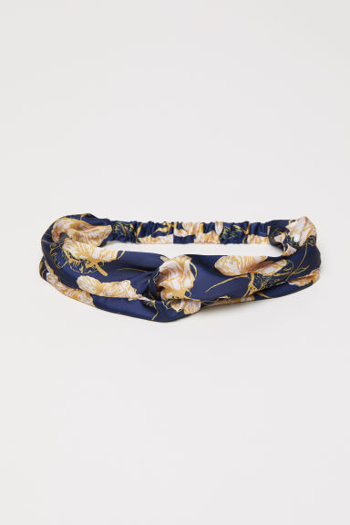 Satin hairband - Dark blue/Patterned - Ladies | H&M CN