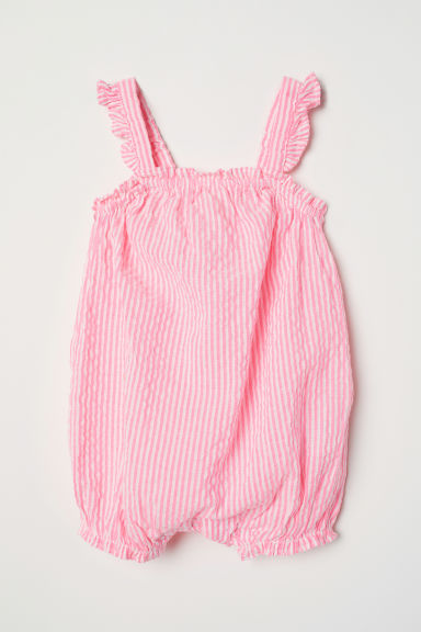Sleeveless romper suit - Neon pink/Striped - Kids | H&M CN