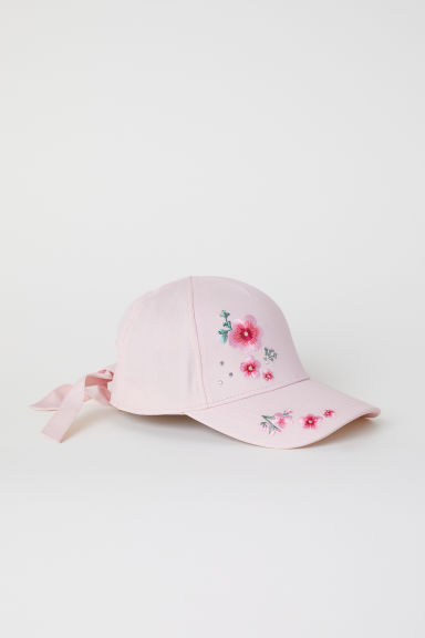 Cap with ties - Light pink/Flowers - Kids | H&M CN