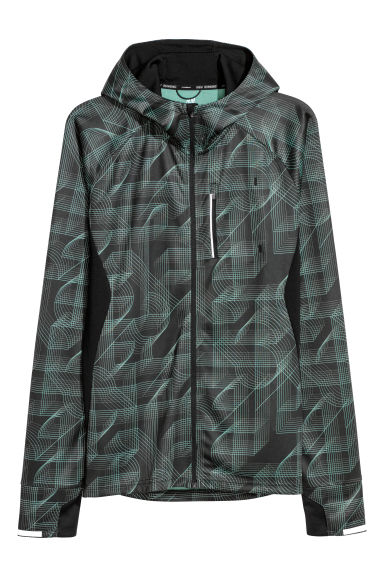 Hooded running jacket - Black/Green patterned - Men | H&M