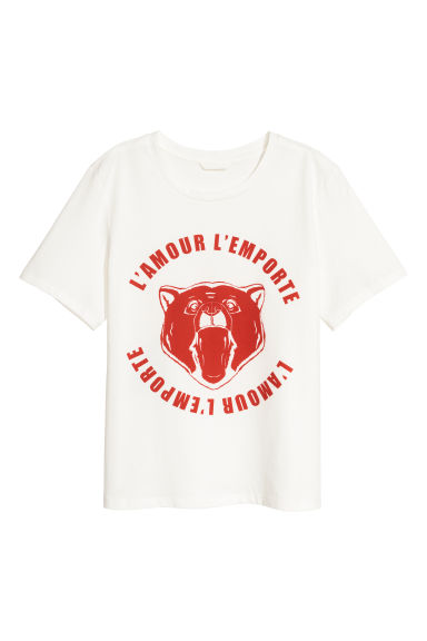 Printed T-shirt - Natural white/L'amour - Ladies | H&M GB