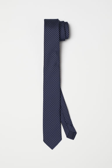 Spotted satin tie - Dark blue -  | H&M