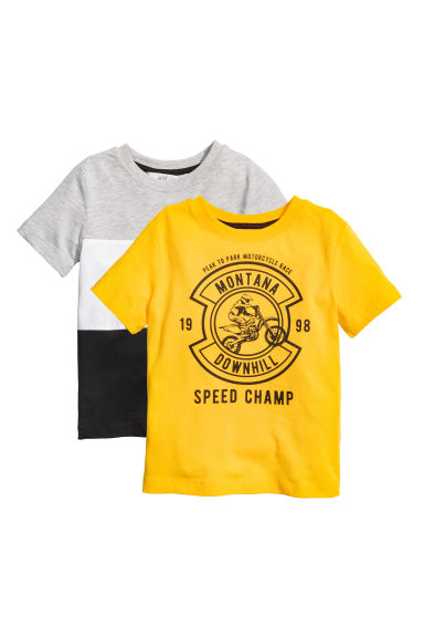 2-pack T-shirts - Yellow/Motorbike -  | H&M