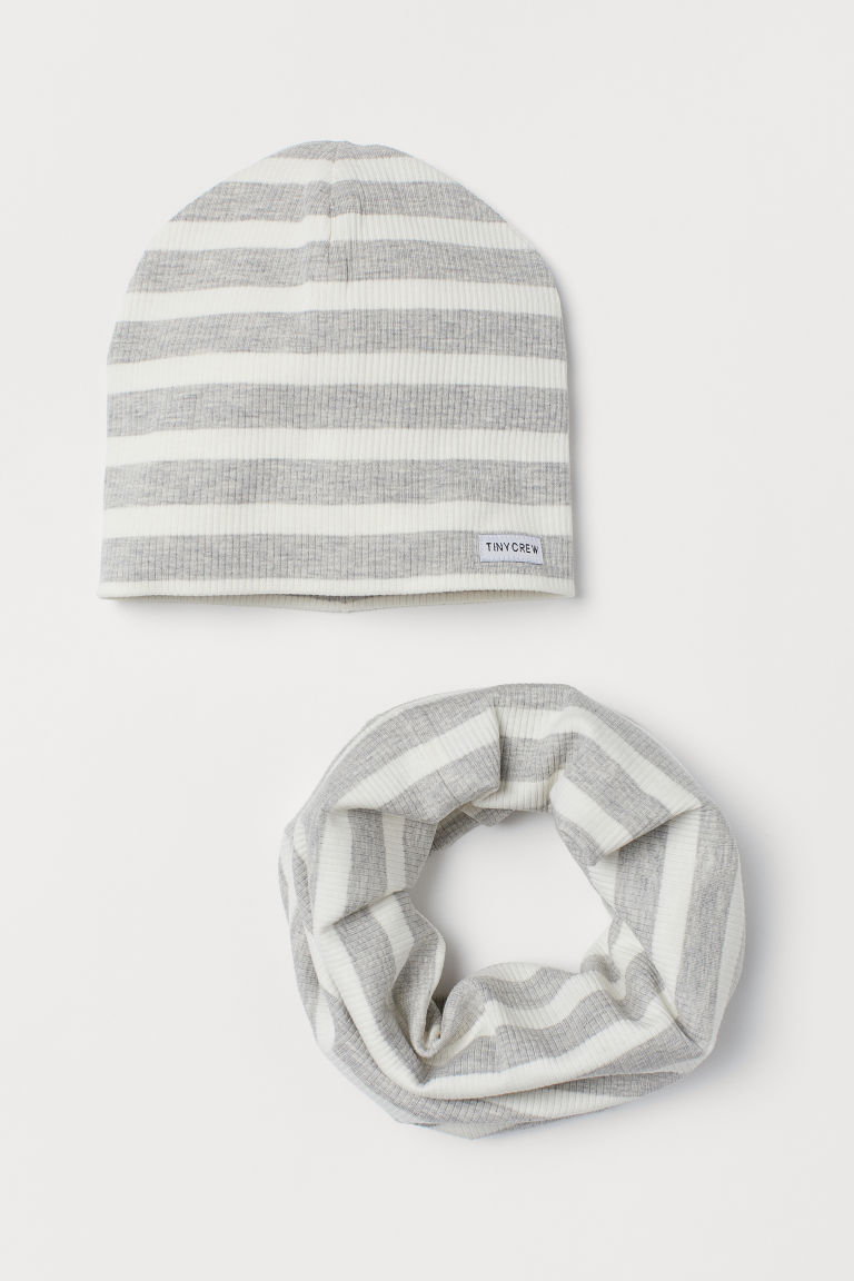 Jersey hat and tube scarf - Light grey/White striped - Kids | H&M GB