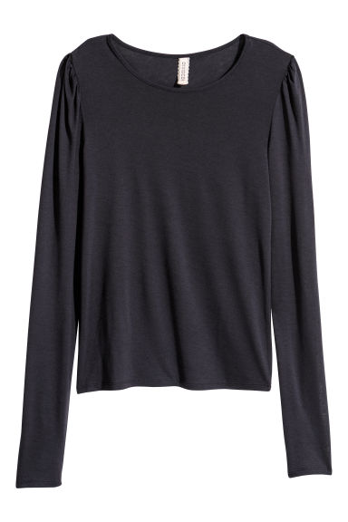 Jersey top with puff sleeves - Dark blue - Ladies | H&M CN