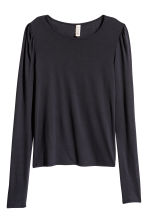 Jersey top with puff sleeves - Dark blue - Ladies | H&M IE 2