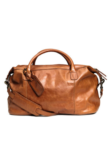 Leather weekend bag - Cognac brown -  | H&M CN