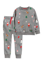 Sweatshirt and trousers - Grey marl/Santas - Kids | H&M CN 2