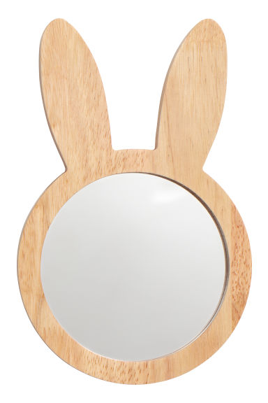 Round wooden-framed mirror - Wood/Rabbit ears - Home All | H&M GB