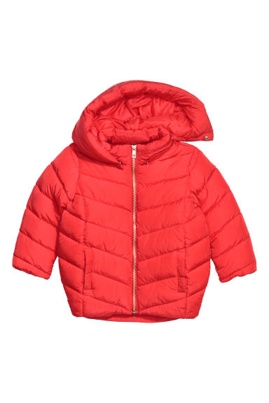 Padded jacket with a hood - Red - Kids | H&M CN