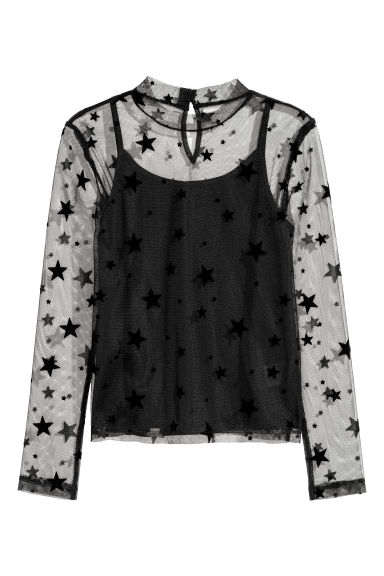 Mesh top with a strappy top - Black/Stars - Kids | H&M CN
