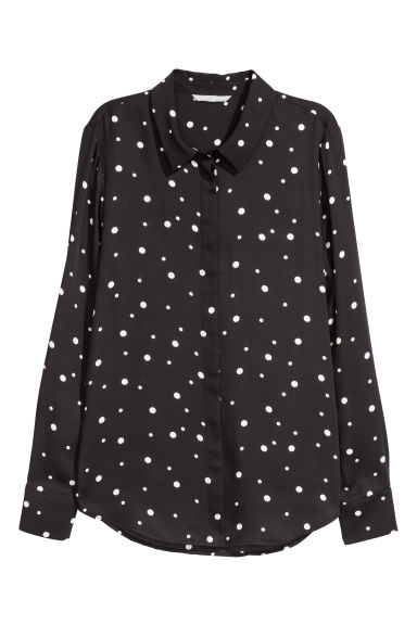 Long-sleeved blouse - Black/Spotted - Ladies | H&M