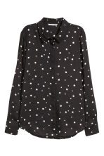 Long-sleeved blouse - Black/Spotted - Ladies | H&M GB 2