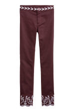 Embroidered trousers - Burgundy - Ladies | H&M CN 1