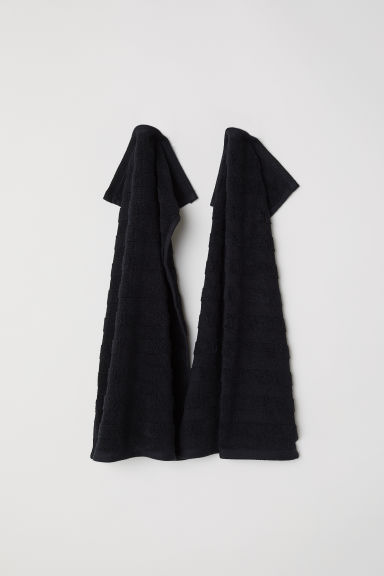 2-pack guest towels - Black -  | H&M GB