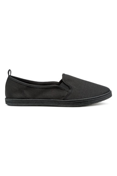 Slip-on canvas trainers - Black -  | H&M IE