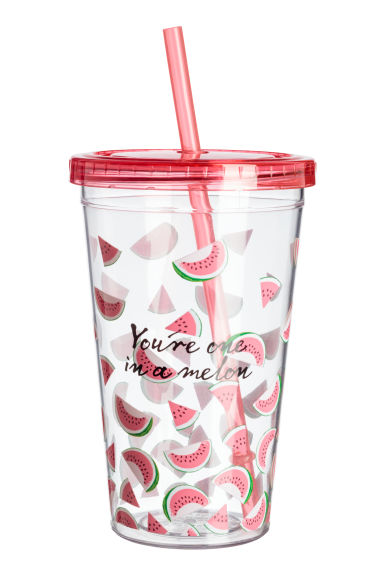 Plastic mug with a straw - Pink/Melon - Home All | H&M CN