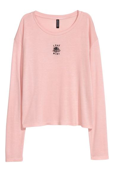 Printed jersey top - Powder pink - Ladies | H&M CN