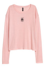 Printed jersey top - Powder pink - Ladies | H&M IE 1