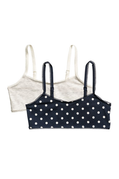 2-pack crop tops - Dark blue/Spotted - Kids | H&M