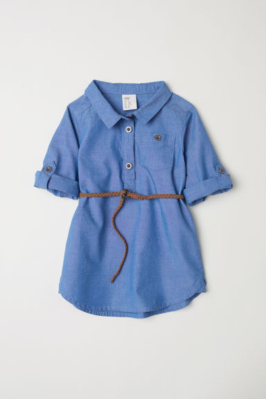 Cotton shirt dress - Blue - Kids | H&M CN