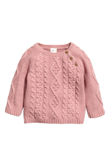 Cable-knit jumper - Old rose -  | H&M CN 1