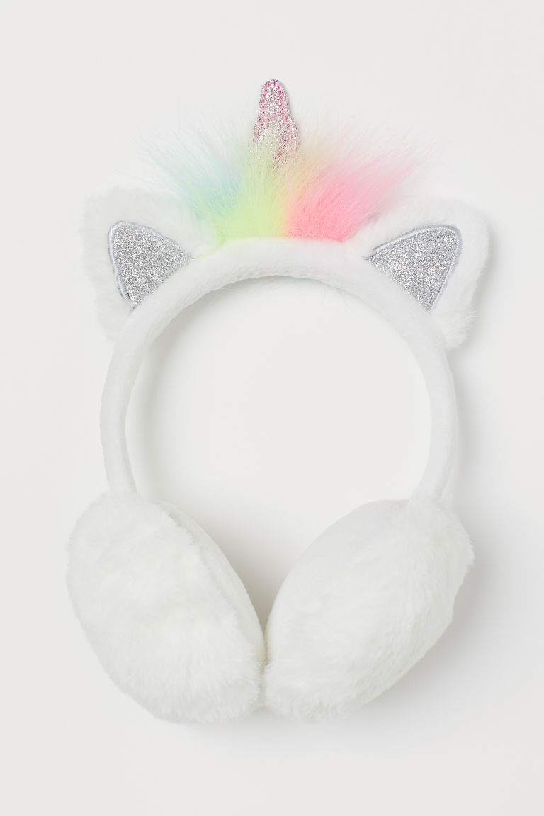 Earmuffs with appliqués - White/Unicorn - Kids | H&M GB
