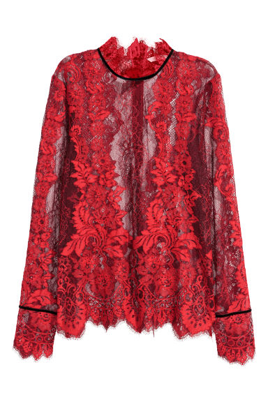 Lace blouse - Red/Black - Ladies | H&M CN