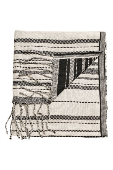 Jacquard-weave blanket - Dark grey/Natural white - Home All | H&M IE