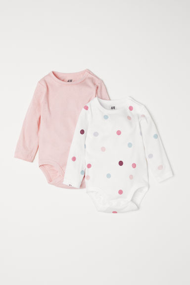 2-pack long-sleeved bodysuits - Light pink/Spotted - Kids | H&M CN