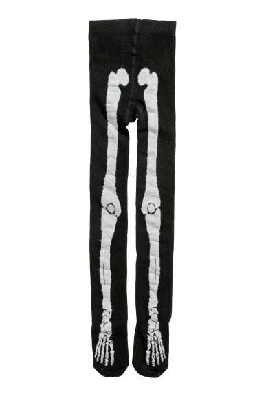 Patterned tights - Black/Skeleton -  | H&M