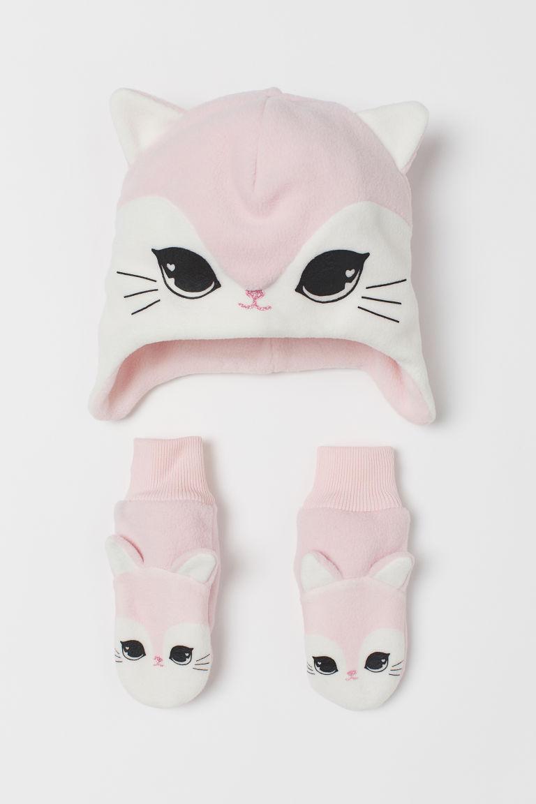Hat and mittens - Light pink/Cat - Kids | H&M GB