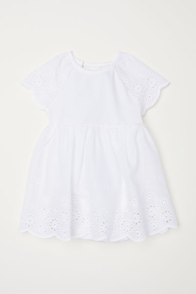 Dress with broderie anglaise - White - Kids | H&M CN