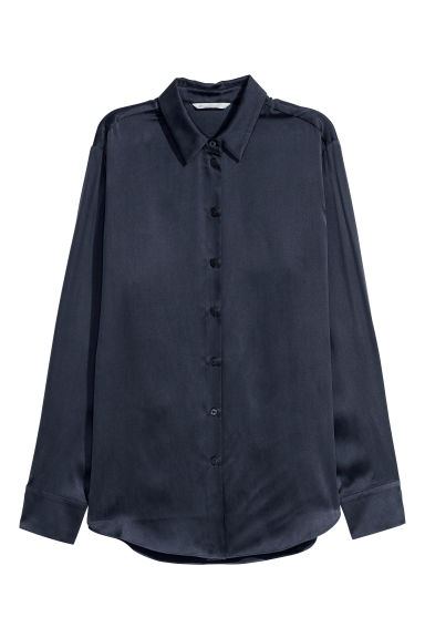 Silk shirt - Dark blue -  | H&M